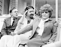 SHUT YOUR EYES AND THINK OF ENGLAND by Anthony Marriott & John Chapman director: Patrick Garland <br> l-r: Donald Sinden (Arthur Pullen), Peter Bland (His Highness Sheik Marami), Patsy Rowlands (Mrs J...