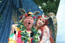 A MIDSUMMER NIGHT'S DREAM by Shakespeare design: James Merifield lighting: Jason Taylor director: John Doyle <br> Robert Lang (Bottom), Harriet Thorpe (Titania) Open Air Theatre, Regent�s Park, Lon...