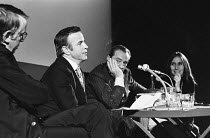 Franco Zeffirelli participating in a panel discussion with audience Q&A alongside Kenneth Tynan (left) and Luchino Visconti as part of CINEMA CITY at the Roundhouse, London NW1 in October 1970 <br> (...