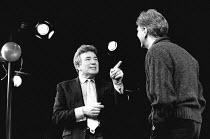 REFLECTED GLORY by Ronald Harwood design: Saul Radomsky lighting: Paul Pyant director: Elijah Moshinsky <br> l-r: Albert Finney, Stephen Moore Vaudeville Theatre, London WC2 08/04/1992 (c) Donald Coop...