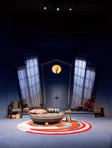 PRESENT LAUGHTER by Noel Coward design: Rob Howell co-lighting: Tim Lutkin & Hugh Vanstone director: Matthew Warchus <br> stage, set, empty, interior, period design, windows, curtains The Old Vic, Lon...