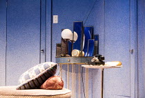 PRESENT LAUGHTER by Noel Coward design: Rob Howell co-lighting: Tim Lutkin & Hugh Vanstone director: Matthew Warchus <br> set, detail, period design, cushions, lamp, mirrors, telephone The Old Vic, Lo...
