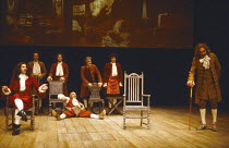 DON JUAN by Moliere translated by John Fowles design: Alison Chitty lighting: Rory Dempster director: Peter Gill <br> front, l-r: Nigel Terry (Don Juan), (on floor) Ron Pember (Sganarelle), Leonard Fe...