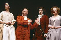 DON JUAN by Moliere translated by John Fowles design: Alison Chitty lighting: Rory Dempster director: Peter Gill <br> l-r: Elizabeth Estensen (Charlotte), Ron Pember (Sganarelle), Nigel Terry (Don Jua...