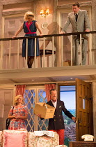 NOISES OFF by Michael Frayn design: Max Jones lighting: Amy Mae fights: Rachel Bown-Williams & Ruth Cooper-Brown director: Jeremy Herrin <br> rehearsing 'Nothing On' - above: Amy Morgan (Brooke Ashto...