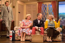 NOISES OFF by Michael Frayn design: Max Jones lighting: Amy Mae fights: Rachel Bown-Williams & Ruth Cooper-Brown director: Jeremy Herrin <br> rehearsing 'Nothing On' - l-r: Daniel Rigby (Garry Lejeun...