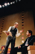 SPEED-THE-PLOW by David Mamet design: John Gunter lighting: Andy Phillips director: Peter Gill <br> l-r: Mark Strong (Bobby Gould), Patrick Marber (Charlie Fox) New Ambassadors Theatre, London WC2 16/...