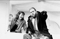 SMELLING A RAT written & directed by Mike Leigh design: Eve Stewart lighting: Kevin Sleep <br> Brid Brennan (Charmaine), Timothy Spall (Vic) Hampstead Theatre, London NW3 06/12/1988 (c) Donald Cooper/...