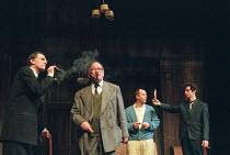 THE HOMECOMING by Harold Pinter design: William Dudley lighting: Hugh Vanstone director: Roger Michell <br> l-r: David Bradley (Max), Sam Kelly (Sam), Keith Allen (Teddy), Michael Sheen (Lenny) Lyttel...