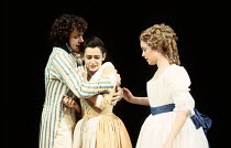 DON'T FOOL WITH LOVE by Alfred de Musset design: Nick Ormerod lighting: Ruth Greenwood director: Declan Donnellan <br> l-r: Michael Sheen (Perdican), Pooky Quesnel (Rosette), Maria Miles (Camille) Che...