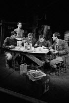 JOURNEY'S END by R. C. Sherriff design: Alan Pickford lighting: Michael O'Flaherty director: Eric Thompson <br> l-r: Christopher Good (2nd Lieutenant Raleigh), Harry Landis (Private Mason), James Maxw...