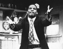 A RAISIN IN THE SUN by Lorraine Hansberry design: Martin Johns lighting: Leonard Tucker director: Lou Stein <br> Don Warrington (Walter Lee Younger) Palace Theatre, Watford, England 15/11/1989 (c) Don...