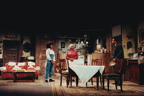 A RAISIN IN THE SUN by Lorraine Hansberry design: Martin Johns lighting: Leonard Tucker director: Lou Stein <br> l-r: Valerie Buchanan (Ruth Younger), Isabelle Lucas (Lena Younger / Mama), Michael Buf...