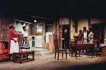 A RAISIN IN THE SUN by Lorraine Hansberry design: Martin Johns lighting: Leonard Tucker director: Lou Stein <br> l-r: Isabelle Lucas (Lena Younger / Mama), Marcia Myrie (Beneatha Younger), Leon Silver...