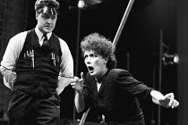 METAMORPHOSIS by Franz Kafka staged by Steven Berkoff <br> Gary Olsen (Chief Clerk / Lodger), Linda Marlowe (Mrs Samsa / Mother) Mermaid Theatre, London EC4 07/1986 (c) Donald Cooper/Photostage photos...