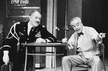 VETERANS DAY by Donald Freed set design: Eileen Diss costumes: Jane Robinson lighting: Mick Hughes director: Kevin Billington <br> l-r: Michael Gambon (Walter Kercelik), Jack Lemmon (John MacCormick B...