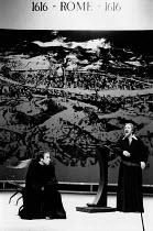 THE LIFE OF GALILEO by Bertolt Brecht translated by Howard Brenton set design: Jocelyn Herbert costumes: Jocelyn Herbert & Stephen Skaptason lighting: Andy Phillips director: John Dexter <br> l-r: Sim...
