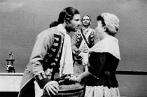 THE RECRUITING OFFICER by George Farquhar design: Peter Hartwell director: Max Stafford-Clark <br> l-r: Julian Wadham (Captain Plume), Clive Russell (Kite), Mossie Smith (Rose) Royal Court Theatre, Lo...