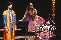 IRANIAN NIGHTS by Tariq Ali & Howard Brenton set design: Colin Piggot & Debra Overton costumes: Chrissy Robinson lighting: Christopher Toulmin director: Penny Cherns <br> l-r: Paul Bhattacharjee (Omar...