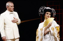 M. BUTTERFLY by David Henry Hwang music: Giacomo Puccini & Lucia Hwong design: Eiko Ishioka lighting: Andy Phillips director: John Dexter <br> Anthony Hopkins (Rene Gallimard), G. G. Goei (Song Liling...
