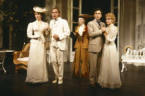 THE IMPORTANCE OF BEING EARNEST by Oscar Wilde design: Carl Toms director: Donald Sinden <br> l-r: Gabrielle Drake (Hon. Gwendolen Fairfax), Clive Francis (John Worthing, J.P.), Wendy Hillier (Lady B...