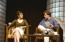 SPEED-THE-PLOW by David Mamet design: Michael Merritt lighting: Kevin Rigdon director: Gregory Mosher <br> Rebecca Pidgeon (Karen), Colin Stinton (Bobby Gould) Lyttelton Theatre, National Theatre (NT)...