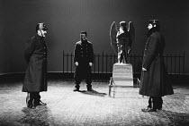 SERJEANT MUSGRAVE'S DANCE by John Arden set design: Peter Hartwell costumes: Pamela Howard director: John Burgess <br> left: John Thaw (Serjeant Musgrave) centre: Ewan Stewart (Private Sparky) Cottesl...