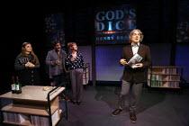 GOD'S DICE by David Baddiel design: Lucy Osborne lighting: Ric Mountjoy director: James Grieve <br> book launch party, l-r: Leila Mimmack (Edie), Nitin Ganatra (Tim), Alexandra Gilbreath (Virginia),...