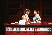 TRAVESTIES by Tom Stoppard design: Richard Hudson lighting: Jennifer Tipton movement: Sue Lefton director: Adrian Noble <br> Zurich library: Antony Sher (Henry Carr), Amanda Harris (Cecily Carruthers)...