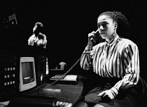 SPECULATORS by Tony Marchant music: Jeremy Sams design: Fotini Dimou lighting: Wayne Dowdeswell director: Barry Kyle <br> Nimmy March (Julie) Royal Shakespeare Company (RSC), The Pit, Barbican Centre,...
