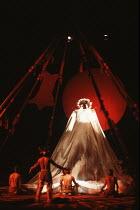 HIAWATHA by Henry Longfellow design: Marty Flood lighting: Chris Ellis director: Michael Bogdanov <br> Native American deity Olivier Theatre, National Theatre (NT), London SE1 10/12/1980 (c) Donald Co...