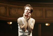 HAMLET by Shakespeare design: Laura Hopkins lighting: Mark Jonathan fights: Terry King director: Rupert Goold <br> Tobias Menzies (Hamlet) Royal Theatre, Northampton, England 22/03/2005 (c) Donald Coo...