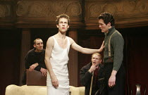 HAMLET by Shakespeare design: Laura Hopkins lighting: Mark Jonathan fights: Terry King director: Rupert Goold <br> Hamlet instructs the Players - l-r: Tom Edden (Player Queen), Tobias Menzies (Hamlet)...