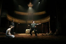 HAMLET by Shakespeare design: Laura Hopkins lighting: Mark Jonathan fights: Terry King director: Rupert Goold <br> l-r: Tobias Menzies (Hamlet), Paul Shelley (Polonius), Tom Edden (Player Queen), Domi...