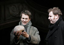 HAMLET by Shakespeare design: Laura Hopkins lighting: Mark Jonathan fights: Terry King director: Rupert Goold <br> l-r: Tobias Menzies (Hamlet), David Ganly (Horatio) Royal Theatre, Northampton, Engla...