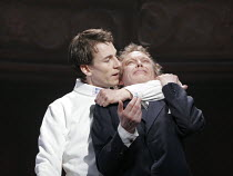 HAMLET by Shakespeare design: Laura Hopkins lighting: Mark Jonathan fights: Terry King director: Rupert Goold <br>final scene, l-r: Tobias Menzies (Hamlet), Hilton McRae (Claudius)Royal Theatre, North...