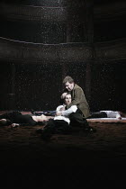 HAMLET by Shakespeare design: Laura Hopkins lighting: Mark Jonathan fights: Terry King director: Rupert Goold <br>final scene, Hamlet dies: Tobias Menzies (Hamlet), David Ganly (Horatio) with the bodi...