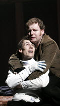 HAMLET by Shakespeare design: Laura Hopkins lighting: Mark Jonathan fights: Terry King director: Rupert Goold <br>final scene, Hamlet dies: Tobias Menzies (Hamlet), David Ganly (Horatio) Royal Theatre...