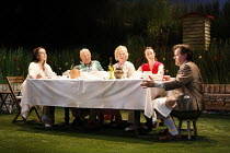 HUMBLE BOY by Charlotte Jones design: Ben Stones lighting: David Holmes director: Richard Beecham <br> l-r: Lesley Joseph (Flora), Roger Sloman (George), Penny Ryder (Mercy), Amy Marston (Rosie), Jere...