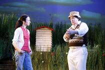 HUMBLE BOY by Charlotte Jones design: Ben Stones lighting: David Holmes director: Richard Beecham <br> Amy Marston (Rosie), Jeremy Swift (Felix) Theatre Royal, Royal & Derngate, Northampton, England 1...