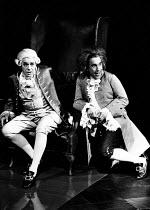 AMADEUS by Peter Shaffer design & lighting: John Bury director: Peter Hall <br> l-r: Paul Scofield (Antonio Salieri), Simon Callow (Wolfgang Amadeus Mozart) Olivier Theatre, National Theatre (NT), Lon...