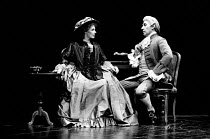AMADEUS by Peter Shaffer design & lighting: John Bury director: Peter Hall <br> Morag Hood (Constanze Weber), Frank Finlay (as Antonio Salieri)a National Theatre (NT) 1979 production / Her Majesty's T...