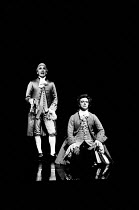 AMADEUS by Peter Shaffer design & lighting: John Bury director: Peter Hall <br> l-r: Frank Finlay (as Antonio Salieri), Richard O'Callaghan (as Wolfgang Amadeus Mozart) a National Theatre (NT) 1979 pr...