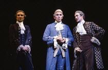 AMADEUS by Peter Shaffer design & lighting: John Bury director: Peter Hall <br> l-r: Terry Wale (Venticelli), Frank Finlay (Antonio Salieri), Dermot Crowley (Venticelli)~a National Theatre (NT) 1979 p...