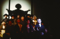 AMADEUS by Peter Shaffer design & lighting: John Bury director: Peter Hall <br> front, from 2nd left: Richard O'Callaghan (Wolfgang Amadeus Mozart), Jane Morant (Catarina Cavalieri), Frank Finlay (Ant...