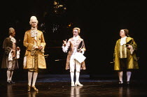 AMADEUS by Peter Shaffer design & lighting: John Bury director: Peter Hall <br> l-r: Brian Kent (Johann Kilian von Strack), John Harding (Emperor Joseph II), Richard O'Callaghan (as Wolfgang Amadeus M...