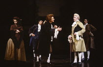 AMADEUS by Peter Shaffer design & lighting: John Bury director: Peter Hall <br> l-r: Morag Hood (Constanze Weber), Terry Wale (Venticelli), Richard O'Callaghan (Wolfgang Amadeus Mozart), Frank Finlay...