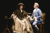 AMADEUS by Peter Shaffer design & lighting: John Bury director: Peter Hall <br> Morag Hood (Constanze Weber), Frank Finlay (Antonio Salieri)a National Theatre (NT) 1979 production / Her Majesty's Thea...