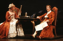 THE PROVOK'D WIFE by Sir John Vanbrugh design: Carl Toms lighting: Robert Bryan director: Peter Wood <br> Geraldine McEwan (Lady Brute), John Wood (Sir John Brute) Lyttelton Theatre, National Theatre...