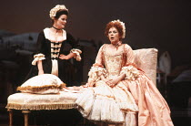 THE PROVOK'D WIFE by Sir John Vanbrugh design: Carl Toms lighting: Robert Bryan director: Peter Wood <br> l-r: Brenda Blethyn (Madamoiselle), Geraldine McEwan (Lady Brute) Lyttelton Theatre, National...